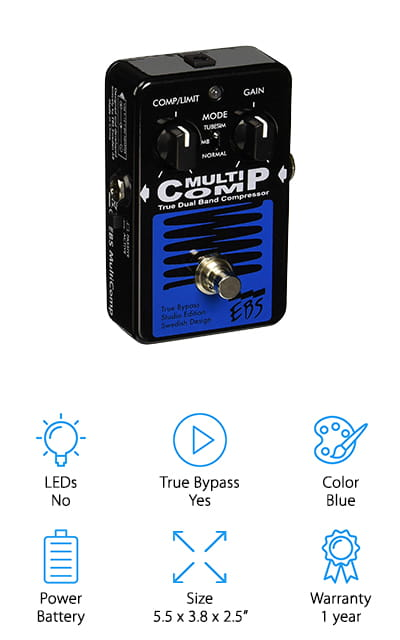 Last up is EBS Sweden Bass Compressor, the bass tube compressor that also does multi-band and normal compression. It's also equipped with True Bypass so you get compression and other effects when you want them. One thing that stands out about this compressor is how easy it is to use. It's smooth, well-designed, and well thought out. All you need to do is set the compression limit with one knob, gain with another, then chose the compression mode. Plus, if you want a little more control, there's also an active/passive switch and an internal trim pot. This compressor was first introduced in 1998 and has been updated and improved with every edition, including higher headroom, analog circuitry, and the addition of True Bypass.  One more thing, it's covered by a 1-year warranty.