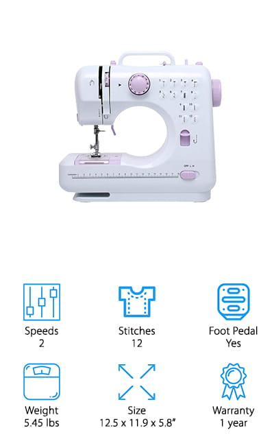 This sewing machine by Donyer Power aims to make sure that you can easily and effectively learn how to sew, allowing you to complete projects that are larger and more complex. It's helped in this by twelve pre-programmed stitch patterns that you can easily switch between, including fancy stitches, curve lock stitches, button stitches, and different straight stitch variations. You can't go wrong with that many options! There are accessory storage and a built-in needle threader to get you going in no time, and you can use either the included foot pedal or the hand switch to get the machine going. This gives you so much control over the stitching, and the two included speeds give you even more! This machine is small and adorable, and yet you can still make a ton of amazing projects with it – including sewing perfect buttonholes. What more could you ask for in a beginner sewing machine? It's easier than ever to get started!