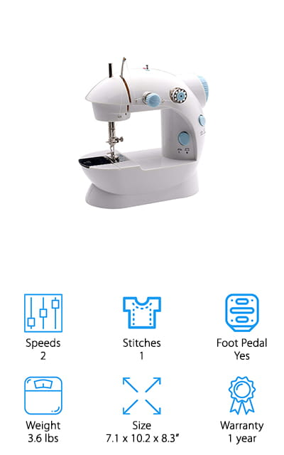 Last on our list is the Michley Lil' Sew & Sew, a humble little machine that can tackle any of the projects you need to throw at it. It can stitch things as delicate as silk while still being able to get through to denim, which is a great range for such a small machine. You can use the hand switch or foot pedal to get it started, which is a feature that we love. It automatically rewinds the thread, making less of a mess for you to clean. One of the best parts of this sewing machine is that it comes with a 42-piece sewing kit that you can use to help get your projects started. It has a ton of different colored threads and other accessories to make your sewing life luxurious. The bobbin drops right in and is easy to adjust to where you need it! We love all the features in this tiny, perfect machine.