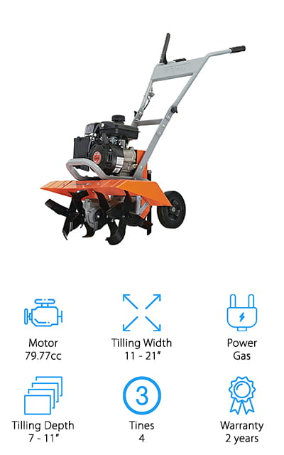 Yardmax makes this amazing gas-powered tiller. It can deliver up to 180 rotations per minute on the tines, so you get a smooth till that doesn't go so fast that it rains dirt clods down all around you. You can set the tilling width to 11 inches, 16 inches, or 21 inches depending on your area, as well as tilling depths from 7 inches all the way down to 11 inches. Cultivating has never been easier or more thorough. If you're up for something that will get the work done at a steady pace, this tiller is definitely for you. It's great for residential use and will help you make a huge impression with your yard and garden! Help promote the health of your soil with this machine. Plus, it comes with a depth-control drag stake, making it easy to move and till. You can even take off the outer tines to get into tighter spaces!