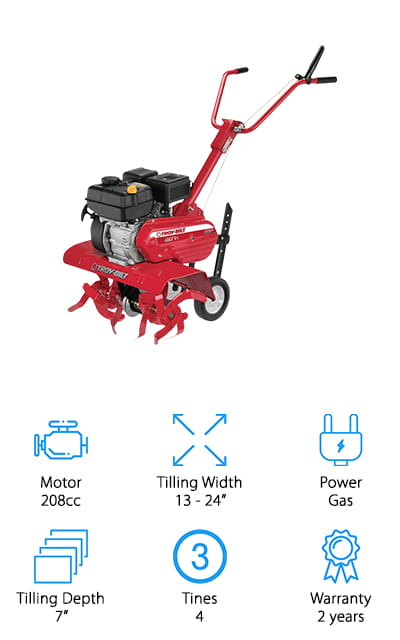 This Troy-Bilt Tiller is one of the most powerful machines on our list, with a 4-cycle engine and recoil start. The engine runs at 208ccs, an amazing power that will help you get your yard done fast and easy no matter how hard your soil is! You can adjust the tilling width from 13 inches to 22 inches and 24 inches if you'd like, meaning that this is the perfect machine for getting large swatches of the land done at once, and making your job that much easier. Plus, you can adjust it to get down as deep as 7 inches. The tines are made in a Bolo curved design, which makes it easy as cutting through the air to get through the soil, resulting in perfectly aerated stretches of land that you're going to love. It starts and works without any hassle, and what more could you ask for? A perfectly comfortable handle, and that's included as well!
