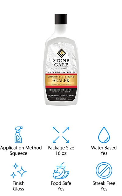 Streak free and food safe, you'll find that Stone Care International Sealer provides protection without the smell of harsh chemicals, like ammonia and phosphate. One application covers 600 square feet, making this the perfect amount for a small project! This sealer can be used on almost any stone, including granite, quartz, and marble. You'll find that you may need to reapply every 6 to 12 months to see the best results! The best thing about this sealer is that you can use it on multiple surfaces including vanities, countertops, floors, and walls. Application is easy as you pour it over the surface you are wanting to seal, wait for 3-5 minutes, pour a little bit more to saturate it, and then wipe off any excess after 30 minutes! Once you're done you'll be able to tell your surface is protected as a slight gloss will cover your countertop! If you're looking for easy application and only have a few extra minutes to spare, Stone Care International Sealer is the sealer for you.