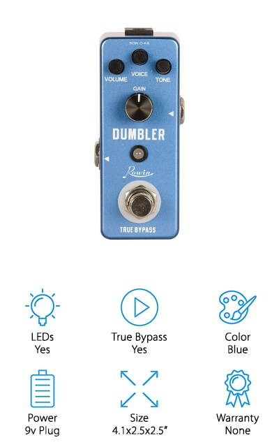 Rowin's Analog Dumbler Pedal is an ode to vintage pedals! One look and you'll see that vintage is still in style. The size of this pedal pairs perfectly with all of your other pedals on your pedalboard, too! You'll be able to shape your tunes with the gain, tone, and master volume switches. The true bypass is easy to turn on and off with the footswitch, turning your sound back to its truest form with just a quick flip of the switch. Despite its size, you'll find the Rowin Analog Dumbler Pedal performs just as well as standard sized pedals. Unlike other distortion pedals, this pedal runs solely on plug-in to perform. There's no room for a battery so you'll need to purchase a separate cord in order to rock on! The bottom line is: if you're looking for something vintage, powerful, and compact this pedal is the one of the best you'll find on the market!