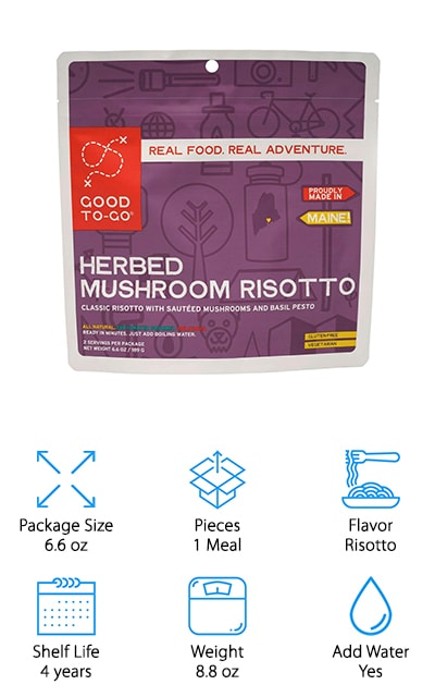If you're looking for great backpacking food ideas for vegans or gluten-free eaters, Good To Go Mushroom Risotto is another popular choice! This recipe includes your classic idea of risotto with sauteed mushrooms and basil pesto sauce. Even though this package has a shelf life of 4 years, you'll find that the recipe itself is low in sodium and is made without any preservatives. Good To Go Mushroom Risotto is the true definition of quick and healthy that you'll be hard pressed to find in other dehydrated foods. All Good to Go foods are made in the USA and dehydrated to prolong the shelf life of your backpacking meals. The dehydration process used gives your food a better way to retain their nutritional value and flavor. You'll notice on the back of every package that every ingredient is easy to pronounce telling you exactly what you're eating without looking it up. Good To Go takes pride in this as their dehydrated foods give a more transparent look into what you're eating, even in the wild!