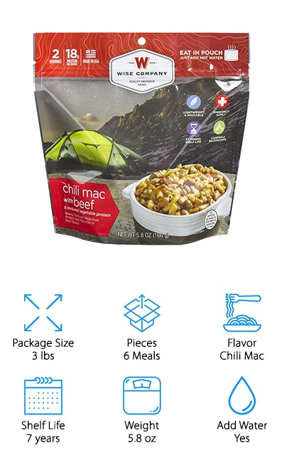 There's never a good backpacking trip without chili! Wise Food Company's Chili Mac brings two of your all-time favorite meals together in one. In this bundle, you'll find 6 individual pouches of Chili Mac, with two servings in each! Each pouch has a shelf life of 7 years, giving you plenty of time to eat your way through several packages on several backpacking trips. 18 grams of protein are in every package, giving you and your hiking buddy 9 grams of protein each time you sit down to eat! You can cook this meal inside the pouch itself by just adding water. This Chili Mac is known to be full of flavor and light on your wallet, making it an easy purchase for last minute trips or backpacking on a budget. Easy to pack and lightweight, Wise Food Company's Chili Mac is the perfect backpacking meal if you're looking for no mess or cleanup! For fans of mac and cheese and chili, you'll love this backpacking meal for the next time you camp or hit the trail.