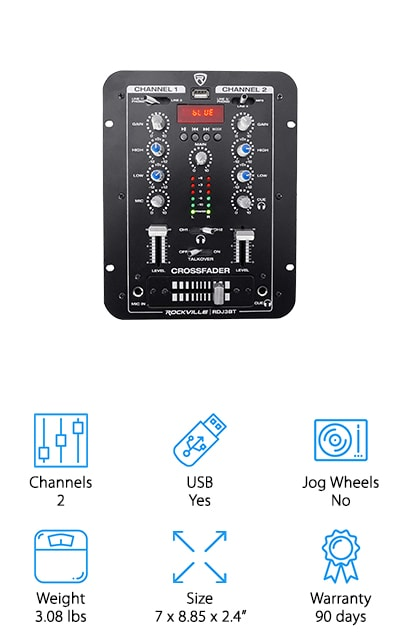 The Rockville RDJ3BT DJ Mixer could be considered the best affordable DJ mixer on the market. With a mix of simplicity and high-end features, you'll be able to tackle any mix you set your mind to with this 2 channel mixer. With a USB port and Bluetooth capabilities, you'll be able to connect your music or play music back hands-free. The LCD display is there to help you quickly identify and play your music from your device to your RDJ3BT! But that's not all! This mixer allows you simple features you wouldn't expect like talkover, cue controls, and input controls. The Rockville RDJ3BT DJ Mixer truly does have it all in a compact, metal housing that will last for years to come. If you're unsure about DJing or want to try a smaller, less complex set up, try this mixer on for size and see for yourself why so many others love their Rockville mixer!