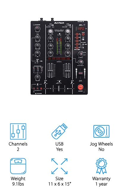 If you want to try your hand at both mixing and crossfading, reach for the DJTECH DJM303 DJ Mixer. This mixer has a handful of presets, 12 for mixing and 3 for crossfading, which can be helpful if you're testing out the waters in crossfading or want something a little extra for your live sets. These presets are known to be powerful and unique, so try these out at home before taking it on stage! A dual USB port is perfect for you if you're an at-home mixer who wants to record or edit via your laptop. Along with the USB port, you'll find two RCA master outputs and 2 TRS balanced outputs. If you needed another reason to check out the DJTECH DJ mixer, you'll find a loop-sampler that is great for recording sounds you'll use over and over again in one song or many songs! The DJTECH DJM303 is an underrated DJ mixer that has everything you need to start your DJing journey!