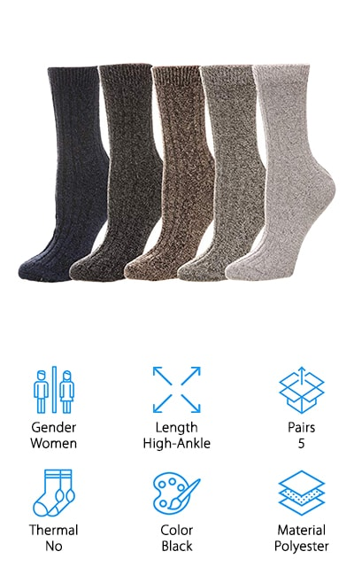 These best women's winter socks come in a 5 pack of all black, but there are other options as well if you prefer. Made to fit above the ankle, they give you a combination of polyester, acrylic, wool and even rabbit hair to keep them soft and comfortable while still giving you all of the warmth that you're looking for. They're knit socks to make sure they are soft but just the right thickness and they're designed for women's standard shoe sizes. Not only that but they work great for everyday wear or special outdoor occasions. These socks don't look very thick, but that doesn't mean that they aren't warm. In fact, they'll feel great even when you're outside for extended periods of time. Even better, if you're not happy with your socks for any reason you can contact the company and get your money back because they stand behind their product completely.