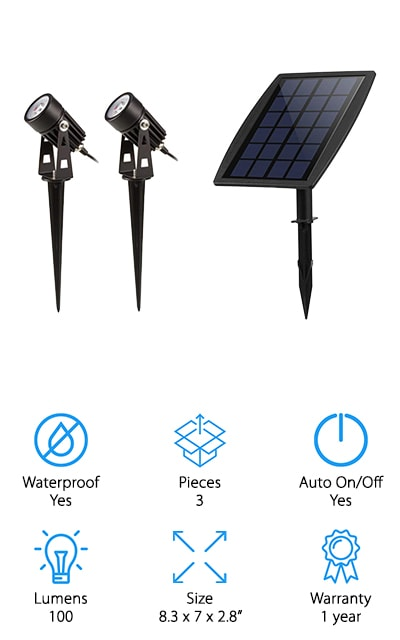 This light system gives you a whole lot of bright light right where you want it with the best solar spot light. You get to set the solar panel up separate from the lights themselves and then you can direct the light where it needs to be. Set them up on the wall or you can put them directly into the ground with no problem. You'll also be able to get up to 5,000 years out of them and you'll receive a full 1 year warranty. What's great is that it's light sensitive, which means that you won't burn up some of your light while it's charging, since it only turns on when the sun goes down and it gets to dusk. Lightweight and simple to use, this system gives you up to 9 hours of working time with as little as 6 hours of charging time, which means that it's great even if you don't have the brightest amount of sun all day.