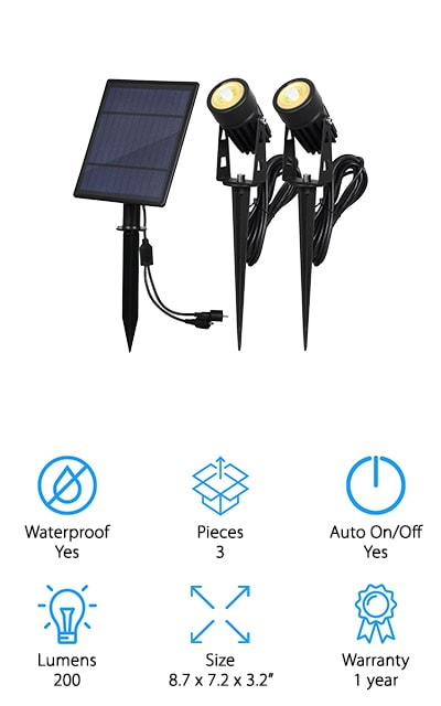 This option lets you get 2 solar lights that you can put wherever you might need light, and you won't have to worry about the solar panel getting enough light because it is actually separate. Instead of everything being together you can set the solar panel where you need it to collect light and then you can direct it where you need it. You'll even be able to choose between different color options when you pick this light. Able to give you up to 9 hours of working time after being charged only 8 hours, this light sticks into the ground or hooks onto your wall. You'll get a full year warranty with this system and you'll get something that's durable enough to withstand water as well as anything else the season can throw at it. All you need to do is find a place where you can set it up and get the best results.