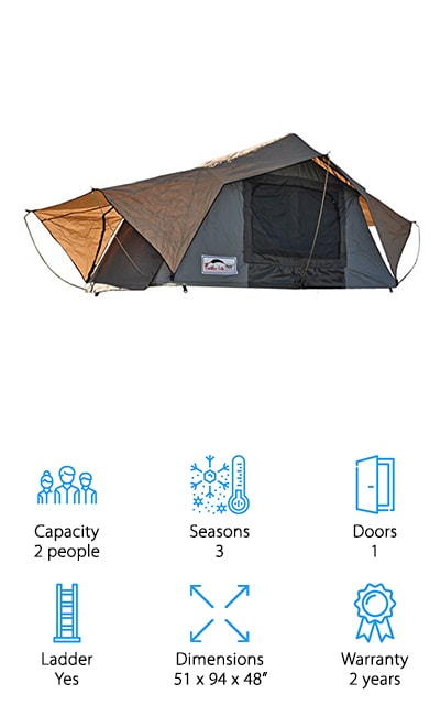 With this tent, you'll be able to sleep 2 or more people comfortably and you'll get a super simple process to get it up and running. That's because it requires only one motion to get it going instantly. Made with a super strong material that's breathable to keep you comfortable but also waterproof, you're going to love it. Not only that but it's mold resistant and PVC coated so it's strong enough to last. It even comes with the mattress that you'll need to be comfortable. You just add in a sleeping bag and pillows to make yourself comfortable. The aluminum ladder is retractable and has foot friendly treads to keep you moving where you need to be easily, without danger of slipping. There are even screens in the windows and doors to keep your family comfortable inside the tent, even when the weather gets a little warmer.