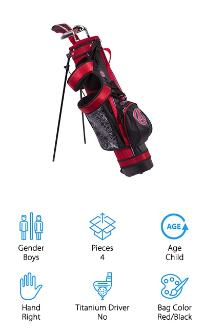 This super cute set of golf clubs features the Avengers and they can definitely help your little one do anything at all. Great for users up to 5 years old, the set includes a bag that has plenty of pockets for all your little superhero's belongings and it has a stand to keep the bag ready when they need it. There's also a shoulder strap that makes it easier to carry and you'll get 3 clubs to get them started out there on the course. Inexpensive and lightweight, this set comes with a 4 hybrid, 7 iron and a putter as well as 1 head cover to keep the hybrid protected. Your little one will definitely have a blast getting to play just like you and the fact that the shafts are graphite means that they are durable but lightweight enough to handle anything your little one throws at them. The shaft is also flexible and the club heads lighter than average to make things even easier.