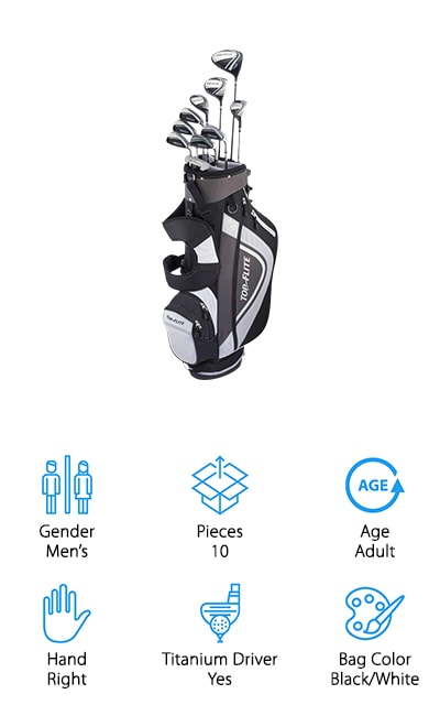 This right handed club set is designed to give you everything you'll need to play your next game. It has a titanium composite driver, as well as 4 and 5 hybrids, fairway woods, irons and wedges, all of which come with graphite shafts for added strength and less weight. There's even a 6 way top that gives you a great way to store each of your clubs with full length dividers to keep them from getting scratched or damaged. The padded mesh adds even more protection and the carry straps are easy to adjust for your comfort. You'll have 5 different pockets to help you get the storage that you need for everything from valuables to balls and a whole lot more. This set of men's clubs is definitely going to get the beginning golfer out there and make sure that you're ready for anything.