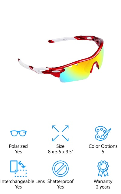 If you really want to cut the cost down these best cheap baseball sunglasses are a great way to do it. Available in 5 different color options these lenses are able to block UVA and UVB rays, as well as giving you more true color and getting rid of the reflected and scattered light that you definitely don't want when you're trying to keep your eye on the ball. Shatterproof, these best polarized sunglasses for baseball are actually interchangeable so you can swap them out if anything happens to the lenses, without having to replace everything. There's a lanyard included to make carrying these a whole lot easier when you're not wearing them and the lightweight frame means that they're easy enough to even forget you're wearing. They also have rubber grips that keep them firmly where you want them, without slipping.