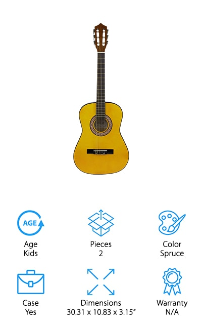"This guitar is smaller in size than a traditional, full size guitar, at ¾ size. It's 36"" in total size and actually uses nylon strings that make it easier to get used to and a whole lot easier to play for younger users or even adults who want a smaller guitar. It's moderate in price and it has simple to use tuning heads that are made with chrome. The pegs are easy and smooth to use as well. Made with solid basswood, the guitar has a dreadnought body and is able to give you rich and full sound for any style of music that you might want. For anyone who wants to make sure they are getting off on the right foot this is an excellent design and it's going to help you. It doesn't have a warranty, but you're definitely going to have something you'll have fun getting to know."