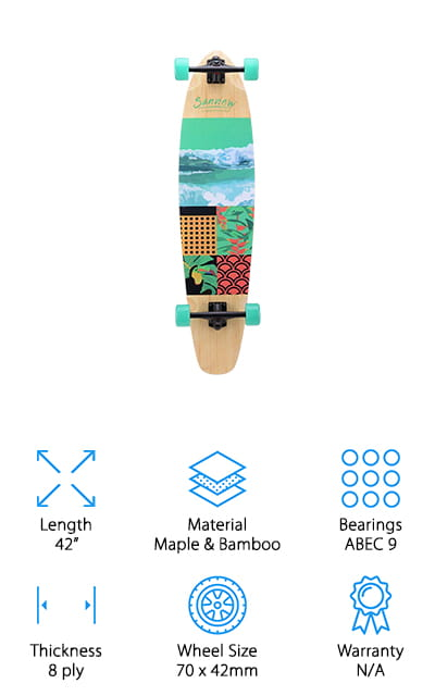 If you want the best longboard for beginners and pros alike that won't cost a fortune, this inexpensive board from Sanview is a great place to start! This is a high-quality longboard for a great price, and it's built to last. The 8-ply deck is made of 7 layers of maple, and 1 layer of bamboo on the bottom. This gives you the extra sturdiness from the maple, with the classic look of bamboo – all in one board! The 70mm wheels with ABEC 9 bearings make for a smooth ride on either fast, downhill stretches, or weaving your way through a crowd. The trucks and wheels are both easy to adjust to get the feel you want and to adjust for the terrain to keep you safe. We also like the wide variety of design options, including classic graphics to punchy nature imagery! You can easily find a board style that's perfect for you, your child, or a lucky friend!
