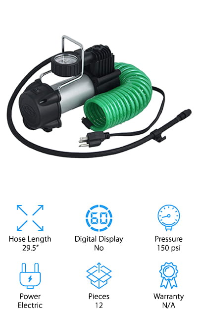 Our final review is another great option for a 120V tire inflator from Slime. This tire inflator plugs into any 120V outlet, and provides enough power to inflate a standard car tire in just 4 minutes! The dial gauge reads in psi and bars, so you can get the accuracy you need when filling your car, truck, motorcycle, or RV tires. We also like that the hose is 29.5 inches long, so you can easily reach your tires without having to lug the compressor to each tire. The other thing we thought was cool about this tire inflator is that it comes with a wall hanging storage case, so you can attach it to your garage wall to save space! You can fill items from there, or detach it and take it to where you need it! It also comes with a 12-piece accessories kit, including valve caps, tread depth gauge, and more to keep your tires in working order!