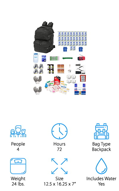 When creating a complete bug out bag for your entire family, it's nice to have a bag that comes with what you need and room to grow! This bag from Zippmo comes with enough food, water, and equipment for 4 people to last up to 3 days in an emergency. There are water packets, a water filtration system, food rations, First Aid kit, camping gear, hand-crank flashlight/radio/phone charger, and more to keep you safe and healthy. We also like that this sturdy backpack has plenty of extra room for more food and supplies if you need it, like extra food, water, clothing, documents, and whatever else your family may need. The outside of the bag also has lots of molle webbing all around it, so you can attach extra equipment with carabiners, or attach extra storage cubes for even more space! This kit is a great starting point to create a customized emergency bug out bag for your entire family!