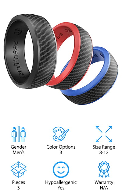 Last up is this gorgeous, breathable silicone ring set from Ikonfitness that would make a great gift for the men in your life! This set of 3 rings comes in black, blue, and red, so you can replace them as they wear out, or just switch them depending on your mood! We like that these rings have a silicone lower part that's breathable and comfortable, and a carbon fiber upper part that's sturdy and looks just like a metal ring. The silicone stretches and adapts to your hands if they swell, but the metal part looks classy, even while wearing a suit and tie or on date night! We like that these rings work well for weight lifting, work, outdoor activities, and travel because they're both safe and easy to clean. They even come in a nice gift box, which keeps your extra rings in mint condition and easy to find in your travel kit or accessories drawer at home!