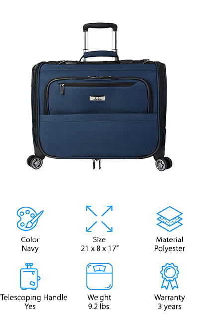 Another inexpensive rolling garment bag that also works well as a carry-on bag is this bag from U. S. Traveler. We like that this bag is small enough to fit in the overhead compartment on most U.S. airlines, so you can feel confident that your suit will arrive at your destination wrinkle-free and ready to go! The roll out garment bag packs in a suit, shirt, and pants easily, and then gently folds into the bag to keep it secure and free of wrinkles. There are also 2 corner pockets for small items, and it also has a couple mesh compartments for extra socks, ties, or undershirts. The exterior of the bag has 2 large zippered pockets to put your toiletry bag, plane tickets, a small snack, or a book for reading on the plane! We think this is a great garment bag for an overnight business trip, cross-country job interview, or other short trips where one suit will do!