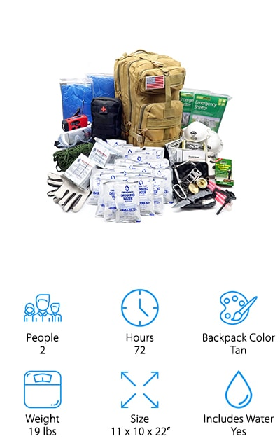 The EVERLIT Earthquake Bug Out Bag is a complete bug out bag that can support two people over three days. It was customized by US military veterans to help you prepare for real-life emergencies. It includes emergency food bars and packets of water as well as a filtration system that can treat up to 25 additional quarts of water. A 3-in-1 hand crank flashlight also acts as a radio and phone charger to help you call for help in the hours following your emergency. This waterproof bug out bag is made of 600 Denier polyester and won't tear or rip. It also has padded straps so it's really comfortable to carry. It also includes emergency shelters, ponchos, and blankets as well as a wire saw, pliers, carabiner, compass, and a multi-tool.