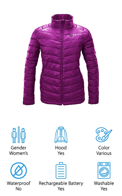 Something that stands out about the Kelvin Heated Jacket is that there are five heat zones whereas most of the other products we looked at only have three. With this jacket, the heat zones are on the chest and back as well as in both pockets give your hands additional warmth. One of the best things about this jacket is the battery. Not only does it provide some of the fastest heat up times around, it also lasts longer than a lot of the competition. You might be wondering how long it lasts? Get this - up to ten hours. The thin, durable fabric is water resistant and difficult to tear. And, to help this jacket be as warm as possible, is has a 90/10 duck down interior that holds in the heat and looks really stylish, too.