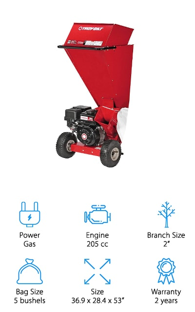 "Troy-Bilt's SC4265 Chipper Shredder is next in our top ten list. This is a pretty hefty machine that can shred twigs up to 2-inches in diameter. There's a large hopper located on the top, too, where to can place leaves, twigs, and other small debris. The 10 x 4"" pneumatic wheels are easy to maneuver from your shed to your lawn and back again. With two chromium steel chipper knives and twelve cast steel flails, this machine takes ten bags of lawn waste and reduces it down to one. That's not all, cleanup is easy, too. This chipper shredder includes a large collection bag that can hold up to 5 bushels of clippings and mulch. And get this, it's felt lined so it's easier to empty."
