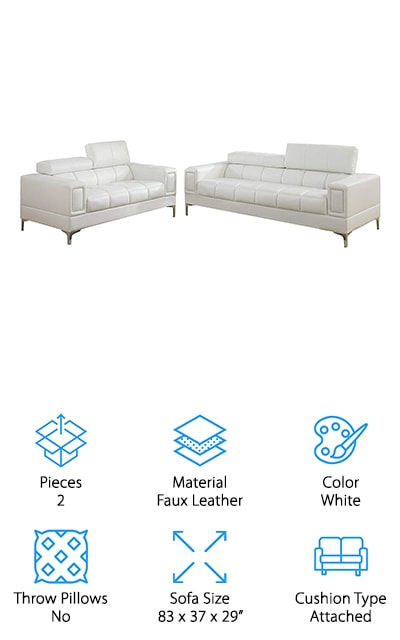 Next is the Advanced Furniture Sofa and Loveseat Set and it's perfect if you want something that's truly unique. The modern design is very geometric yet manages to be comfortable at the same time. It's upholstered in bright white faux leather. Both the loveseat and sofa feature a long, rectangular shape and have large, boxy arms. The seat and back cushions add a rounded contrast thanks to the large, cube-shaped tufting. There are also adjustable headrests if you want added comfort while you relax. Large chrome legs add a contrasting texture to the leather and really polish off the design. It's a little hard to describe this style, it's modern but also has a bit of a futuristic flair. Plus, because it's white, it will match just about any wall or carpet color.
