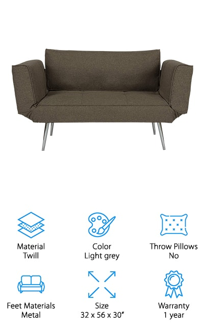 This modern sofa bed by DHP is unique on our list because it's upholstered with twill, which is easy to clean and rich enough to be comfortable. It's perfect for small spaces when you want to keep all of your lines clean and your look crisp. You can create either a sleeper or an L-shaped sofa in just seconds with the multi-function design, which allows you to use either shape effortlessly. It takes moments to assemble and includes as neat magazine pocket on the arm so you can store things. This particular sofa is navy blue, but it's also available in a few different colors. Dark grey and tan are neutrals, but the color that sticks out here is the berry purple – we've rarely seen this color on couches and we love it. The cushion is made of foam and the frame is metal, so it's sturdy and dependable. We love how easy the material is to clean!