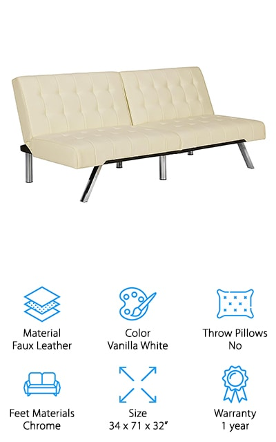 This white leather sofa bed from DHP will definitely add a modern touch to whatever room you choose to use it in. The back of the futon-framed sofa bed is split, so you can adjust the angle of each seat independently, including laying one down at a time. It's so easy to convert this bed from a couch to a sleeping surface. It's a sleek-designed sofa bed with a modern feel and chrome metal legs, so it's definitely sturdy enough to be used every day. And when you use it every day, the cushions won't get squishy or collapse on you like they might in other beds. We also love that the faux leather cushion covering is easy to clean and maintain. Comfortable and stylish, this can come in black as well for an even more modern touch. It makes out into a full bed, so you can stretch out and get comfortable in every different configuration!