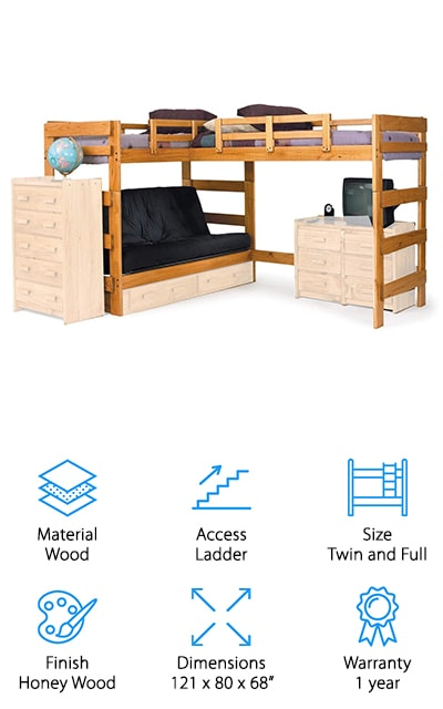 Chelsea Home L-Shaped Loft Bed