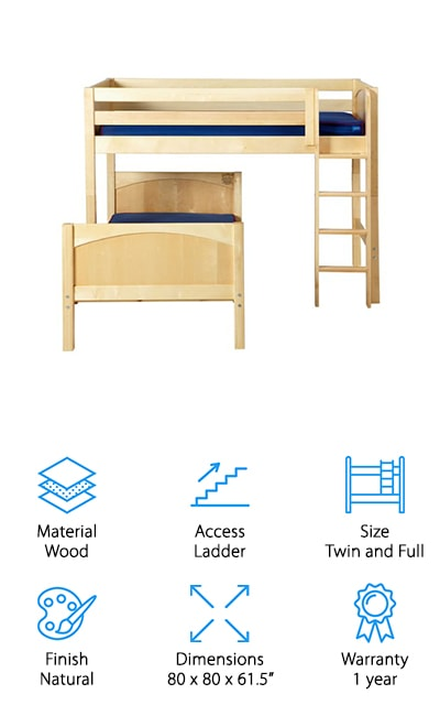 Maxtrix Kids L-Shaped Bunk Bed