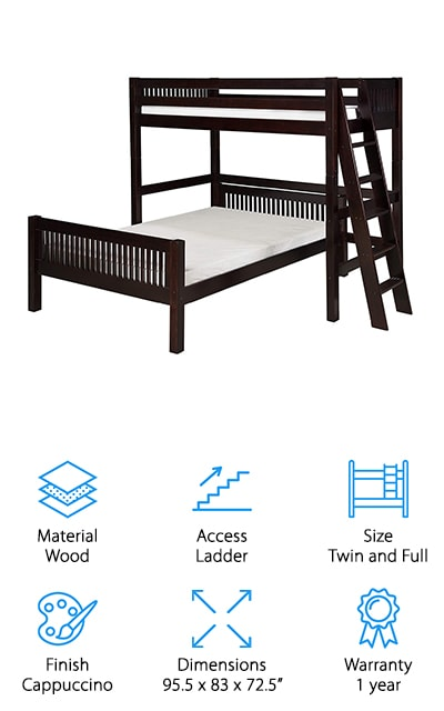 This dark wooden frame by Camaflexi is simple and effective! There are no fancy ending bookshelves or drawers, so if you're looking for something a little more sleek and modern this is the best bunk bed for you! The top bunk is a twin and the bottom is full – and the best part about this bed is the fact that they can come apart! You can make two separate beds out of this one system, which is perfect for siblings as they grow. It's also a good idea for dorm rooms because you can choose to arrange and rearrange it however you'd like. It's made of solid wood and finished with a dark brown that is absolutely gorgeous. The ladder is comfortable, grooved, and sturdy enough to get you right into the top bunk with no hassle at all! Whatever your situation, this bunk bed can provide you with a space solution and the beautiful, classic look that you want.