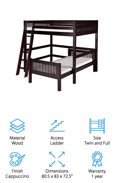 This loft bed is a great addition to our list! The bottom bunk is a standard twin-sized mattress with a full-sized mattress in the loft, which is a unique configuration that isn't as popular as having it the other way around. It's a classic style that will work well in many different décor settings, and it's made of one hundred percent solid wood. What we love about this set is that the top bunk is detachable when your children grow out of the bunk beds. This creates two separate beds, which is definitely a lot of value in this set. The ladder has extra-wide grooved rungs, so it's just as comfortable to use as one on an L-shaped bunk bed with stairs. Your kids are going to love this bed set for a long time – so it's a great investment! It's a sturdy construction that will support a total combined weight of 650 pounds. That's amazing!