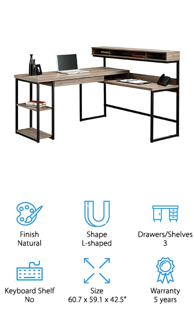 Saunder is on our list again with another great desk! This one is a minimalist's dream – it's all boxes and clean lines, with storage that is understated and perfect for modern offices. The bottom area is open, instead of being boxed in like so many of the desks on our list. There's a small shelf attached to the shorter side of the desk, as well as a locking drawer right under the computer area. We love that this desk is in stages, instead of being one continuous surface. That's stylish and useful! You can fit so much in this space and in the floating shelf above! There are two shelves on the other side of the desk as well for all the other things you'll need. Additionally, there's a cord managing system which locks them away inside a compartment on the desk that shuts down, blocking them from damage and clutter. This desk really has it all!