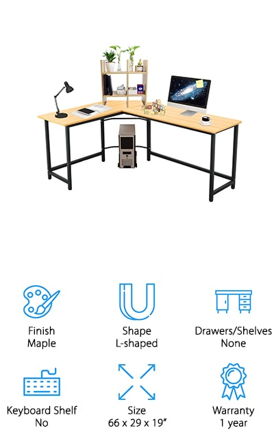 This contemporary, modern desk is perfect for people who need to get to a lot of things, but don't need the wide open surface areas of some of the other desks on our list. The open L-shaped design gives you plenty of freedom. It's also one of the smallest on our list, so if you have a smaller space in a dorm or small office it's perfect for you. The surface itself is glossy and smooth, so it's comfortable to use and will make your décor look even better. It comes with a two-tier desktop rack for storage to help keep your area neat, as well as a CPU stand so you can move your desktop around on wheels when you are moving it from one area to another. This desk is full of convenience features with a sleek look that you'll love to have in your space, and you can get everything you need to be done!