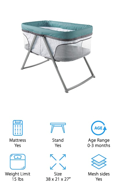 Ingenuity's Fold-Away bed is a great airplane travel bassinet. You can easily attach the legs and assemble it in seconds, with a single step. This means that you can easily transport it from place to place as you need it, and when you're at home you can store it easily! It has amazing mesh sides so you can keep an eye on your baby, and when the stand is engaged and put together it even has a rocking feature. You can soothe your baby right into a perfectly peaceful nap and then make it stationary when they finally fall asleep. Both of you can rest easy with this highly visible, comfortable bassinet. We especially love the colors and designs that it's available in, such as Beaumont and Juniper. It's beautiful and unique, and we're sure that both you and your baby will love it! The rocking feature is especially unique and useful for fussy little ones.