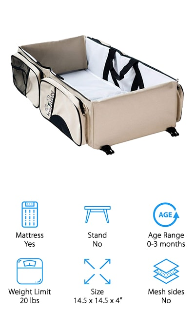 If you're looking for the perfect airplane travel bassinet, this is the one for you! There are four zippered pockets in this perfect tote, so you can use it as a diaper bag, changing station, and a portable bassinet! It's so incredibly versatile and you can use it for so many things! You can let your baby sleep anywhere, or carry all of their extra supplies with you. This makes it the perfect bed for traveling with you 0-3 month old. It's both waterproof and washable, with carrying handles and super secure buckles! It even comes with a dispenser for disposable bags to keep used diapers in. We love how much this tote can hold, as well as how many different things you can use it for. You can carry your own diaper changing station and bassinet with you, and that's pretty amazing. It's spacious, lightweight, and perfect for travel! We absolutely love this bag, and we know you will too!