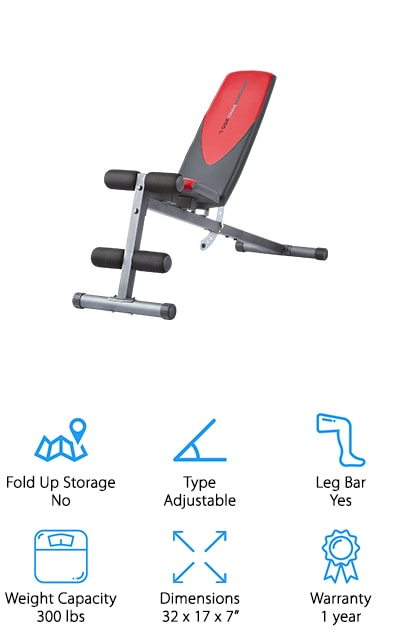 The Weider Pro Ab bench uses several positions to get you the best version of your workout possible. It even includes an exercises chart so that you know exactly what to do and how to use the bench for the best results. You can use it with the weights that you already have as well. The seats are sewn vinyl, so they're completely comfortable for all of your workout needs. The seat adjusts so you can target different muscle groups, and it includes a leg bar with four rolls to keep your legs locked down and secure your other exercises, or else as added resistance for leg presses. Our favorite part of this bench is the fact that it comes with a guide so that you have the proper form and can get your workouts done in the best, most effective, and safest possible way. Get your sculpting done in no time with this amazing bench!