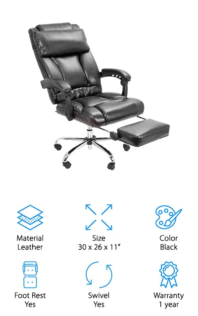 This Barton chair is the perfect office chair, both simple and functional. In fact, if you got a full set of them they would make the perfect conference room chairs for your workplace! We love the swivel feature, with the high-quality casters that will give you a smooth glide. The leather-covered cushions are comfortable and supportive, as well as the cushioned armrests and high back. The seat is completely adjustable, and the back reclines to almost 170 degrees, allowing you an almost-flat sleeping surface for a quick nap in the office when you need a break. The footrest is nice and cushioned as well! There's an adjustable headrest that is comfortable and almost overstuffed in order to provide the most comfort for your dozing between work sessions. The chair base is heavy enough that you won't feel like it's going to tip over when you recline it. We love how cushioned and comfortable this chair is!
