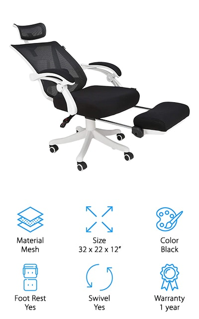 Hbada makes this reclining office chair that's tall and comfortable and works perfectly for both taller people and shorter ones both. Instead of being made of leather, this chair is made of cloth and mesh so it's the perfect alternative to people who aren't fond of leather. We love the tilting feature and the adjustable headrest as well as the lumbar support that you can adjust to both your height and any problems that you may have. The headrest even has seven different height adjustment options and a 30-degree rotation, so it's more comfortable for people of different heights. The high back is really nice and it's entirely made of mesh so it's breathable and comfortable. The nylon base and heavy casters will help to keep the chair grounded and sturdy, as well as moving smoothly over your floor, so you won't rip your flooring or scratch up the hardwood. We love the simple design of this chair!