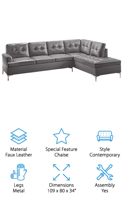 Best Gray Leather Sectional Sofas