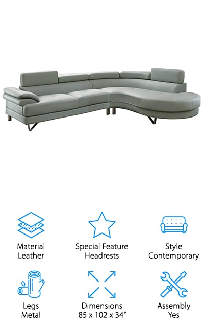 Poundex Bobkona Isidro Sectional