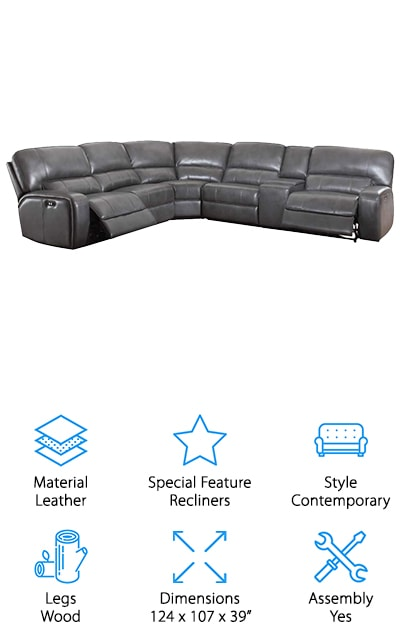 The Acme Saul sofa is elegant looking and includes a lot of features all in one! On either end of the beautifully crafted leather sofa are power recliners, so that you can sit with your feet up in one smooth motion and without having to do any of the work yourself. We love this mechanism! In addition, it also has a console area with a lot of storage for your remotes and other things you need while relaxing on the couch. This includes a USB power dock so that you can charge all of your devices without having to leave your phone across the room. It also, of course, has a cup holder for all of your drinks. We love all the features that come with this ultimate relaxation sofa! The grey leather is comfortable and perfect for a day off from work or a night watching movies with friends. We love it and you will too!