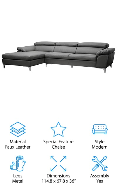 The final sectional on our list is the Baxton Studio Sofa. It's made of beautiful gray faux leather that is easy to clean by wiping it down with a damp cloth when you need to. The special feature that makes this sofa top our list is the chaise on the left side. The feet are made of chrome-plated metal that will be gentle on your floors. The polyurethane cushions will be comfortable for years to come, and spring back better than regular cushions. They're great at holding their shape. This sectional comes in two pieces for easy hauling. The dark grey color of the faux leather will fit perfectly in any modern decor. The frame is wood instead of metal, which is a nice touch that adds to the life of your sofa because wood bends less readily than metal. The chaise portion is also large and comfortable, so you can relax in peace.