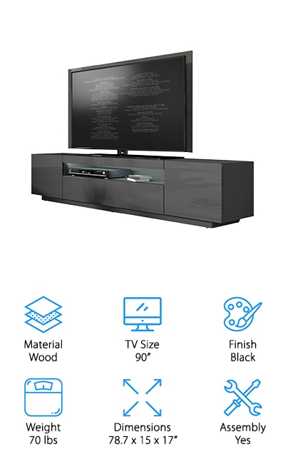 If you're looking for a fancy TV stand that will break the mold in your modern apartment or the living room of your stylish house, this Is the one for you! It can fit up to 90-inch screens, so it's great for larger TVs and you know it's going to take up a lot of space. That means a lot of storage! The finish is a high-gloss black, and the thing that we love most about it is that the entertainment cubby has built-in LED lights. There are sixteen different colors that this one can have on to make your space look modern and trendy. It even has a remote to turn the lights on and off with the click of a button. The instructions are easy to follow and you'll have it assembled and put to work in no time at all! We love the high-quality materials that this TV stand is made from! It's high tech and sleek!