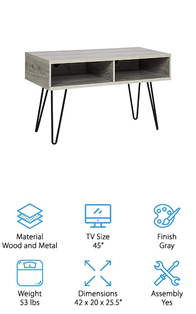 The last TV stand on our list is a retro throwback. This grey hardwood cubby-style stand comes with metal hairpin legs, which makes it look like its right out of the 1960s. It's a beautifully sturdy piece that is also just industrial enough to look great in an apartment with exposed brick walls, for instance. It has clean edges and two large shelf cubbies where you can place your audio equipment, gaming consoles or other things. There are holes you can thread your cords through so they are neat and managed. We love how much storage space there is, paired with the large tabletop and retro look. This really is a great modern TV stand with a throwback touch that we can't get enough of. Assembly is easy and won't take you any time at all, so you can get straight to using it in your beautiful living room! We know you'll love it if you try it!