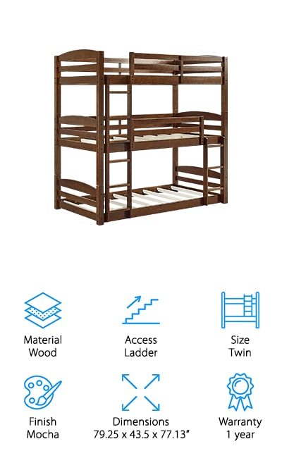 Dorel Living Sierra Triple Bunk Bed