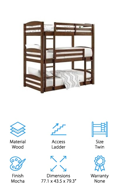 These twin triple bunk beds are sold by Svitlife. The Nora unit comes in a beautiful mocha finish with multiple configurations. It comes with a kit so that you can separate the beds into three separate beds, or a bunk bed set and a daybed. Basically, you get three separate bed frames for the price and you're able to configure them however you'd like to. They include the bed slats so that you don't have to use the box springs when you get to that point. Each bed can hold up to 160 pounds no matter how they are set up. We love the idea that they can be separated however you'd like, which adds a lot of different options for you. This bed will be able to last your kids a long time with all of your different options.