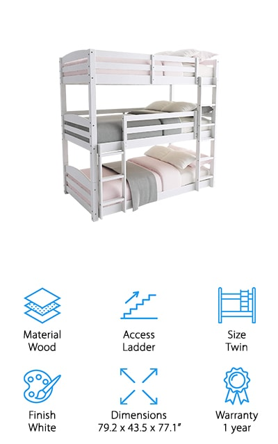 This white triple bunk bed would be perfect for a room with two or three little girls! It's a classic design that looks great paired with bedding of just about any color or design. There are three bunks, each of which is supportive and sturdy enough for small children. If you happen to have three kids of a similar age, this might be the perfect addition to save some room in your home. If they have to share a room, why not get a bed that's going to give them more room to play? They're going to love this bed set! All you need in addition to the set is different twin mattresses for each bunk. The slats will help support the mattresses and keep your children safe when they're climbing up and down on the wooden ladders that lead to the second and third bunks. If you've got several people to sleep in much smaller spaces, this is perfect!